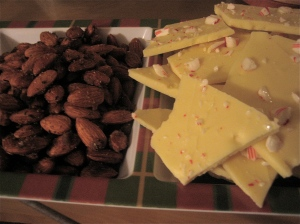 Spiced Almonds & White Chocolate Peppermint Bark