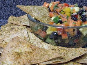 Cumin Chili Tortilla Chips & Papaya Black Bean Salsa