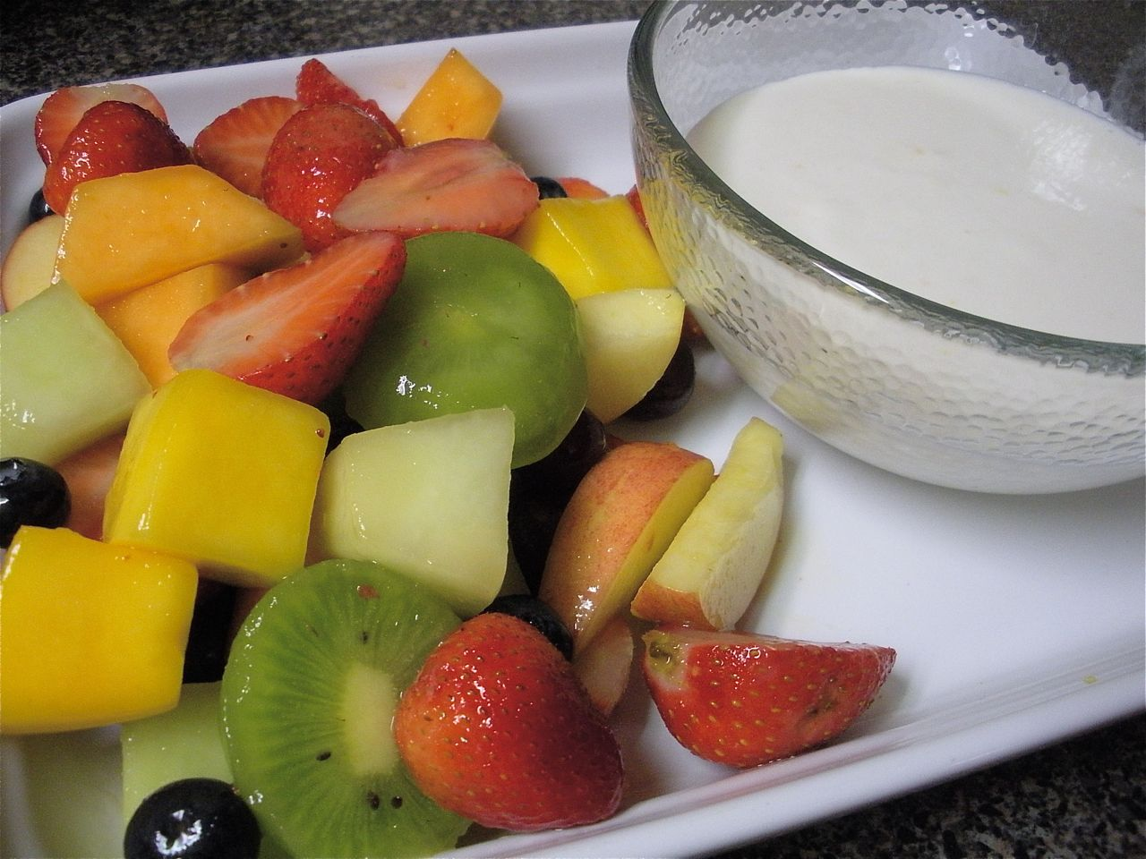 Honey Ginger Marinated Fruit with Lemon Yogurt Dip