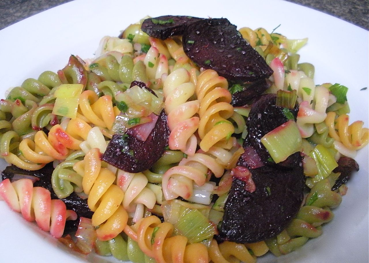 Roasted Beets and Caramelized Leeks Pasta Salad-The Duo Dishes
