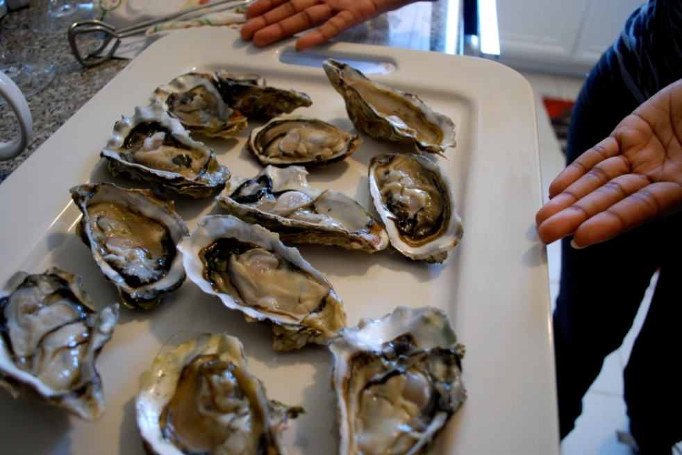 Raw oysters ready to be charbroiled