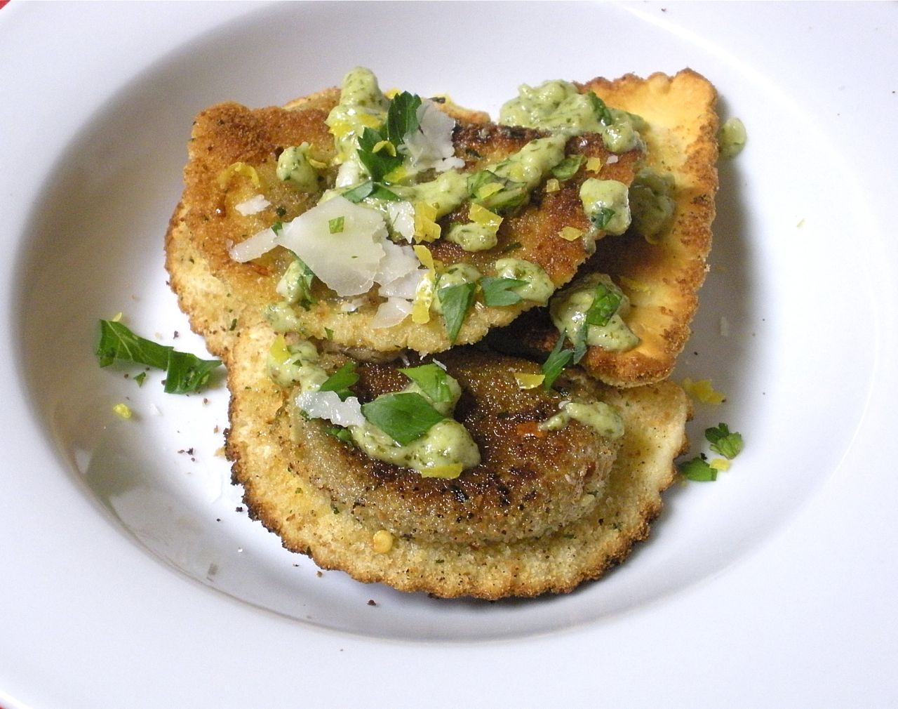 Fried Ravioli with Mint Parsley Pesto