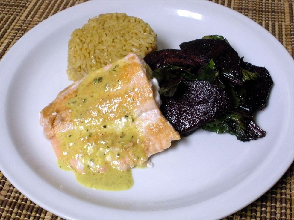 Salmon & Curry Sauce and Roasted Beets-Duo Dishes