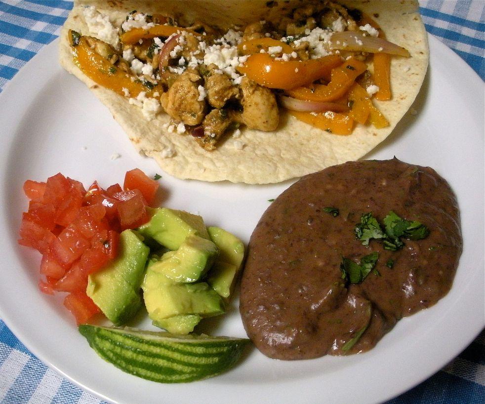 Chicken cotija fajitas and cilantro beans-Duo Dishes