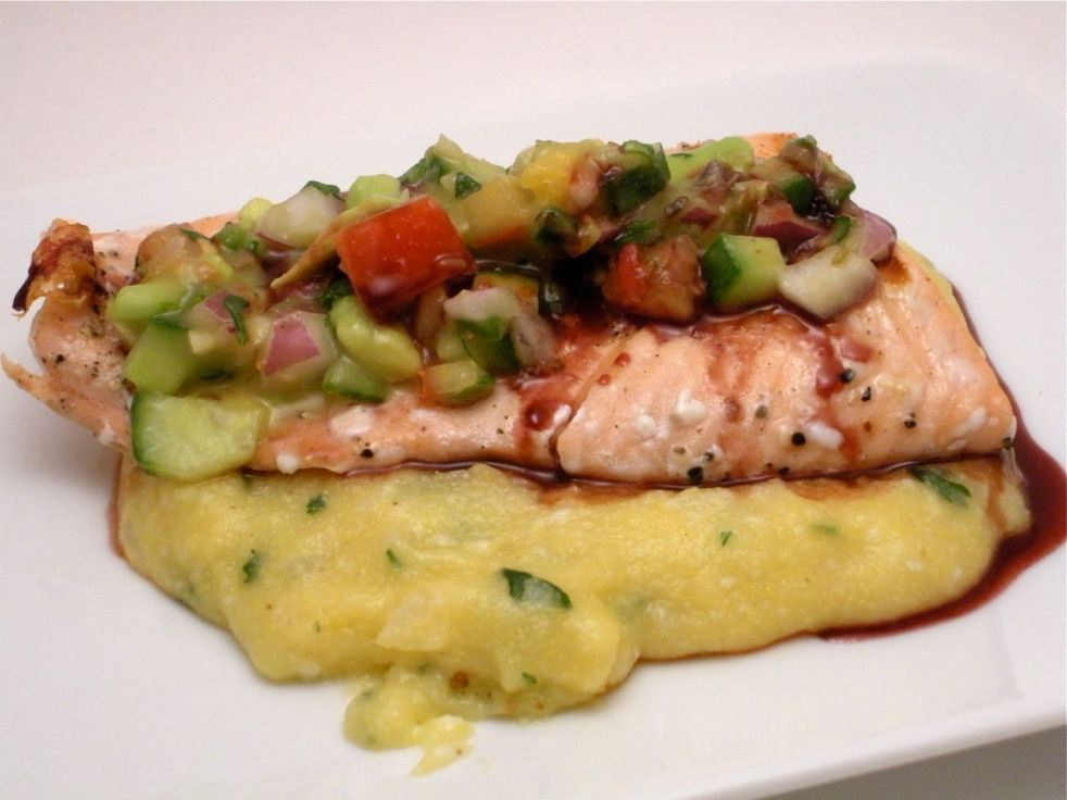 Salmon with Orange Avo Salsa & Polenta-Duo Dishes