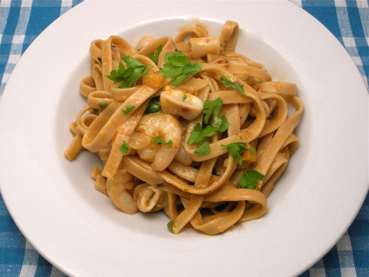 Seafood and Eggplant Fettucine-Duo Dishes