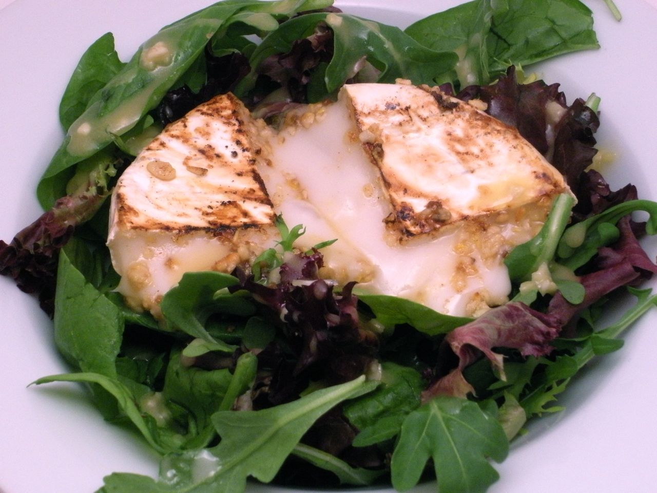 Candied Pine Nut Crusted Goat Cheese Salad-Duo Dishes