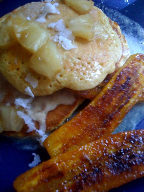 Coconut Pancakes & Plantains-Duo Dishes