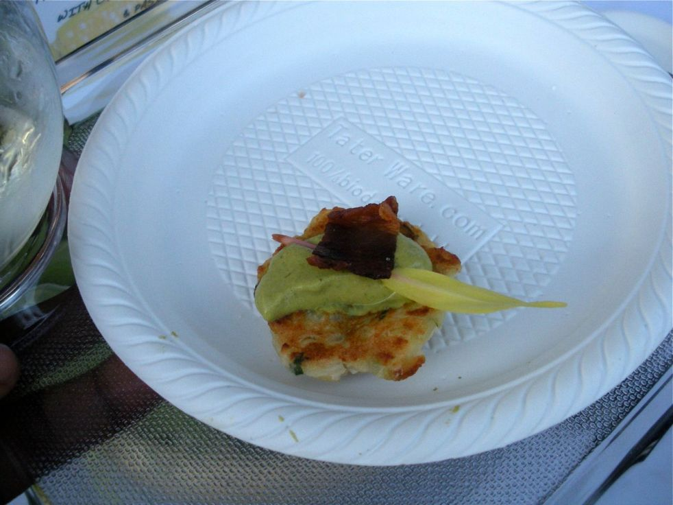 Bon Mélange Catering: Corn Pancake with Bacon & Pasilla Chile Emulsion