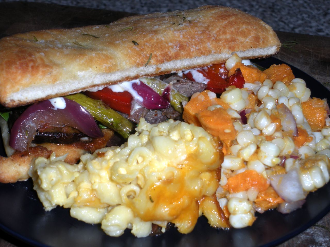 Steak Sandwiches & Sweet Potato Corn Salad-Duo Dishes