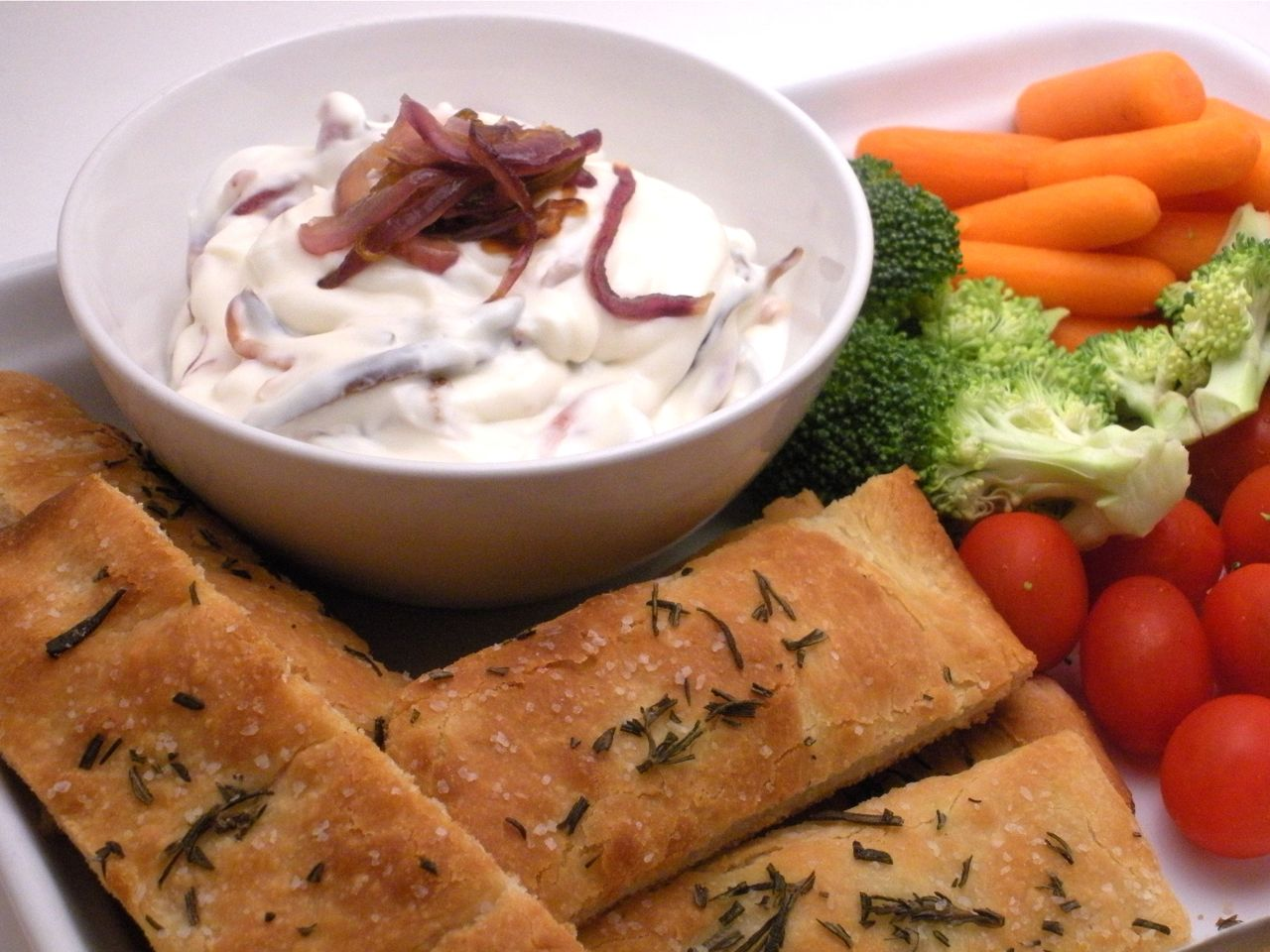 Rosemary Breadsticks & Onion Pear Dip-Duo Dishes