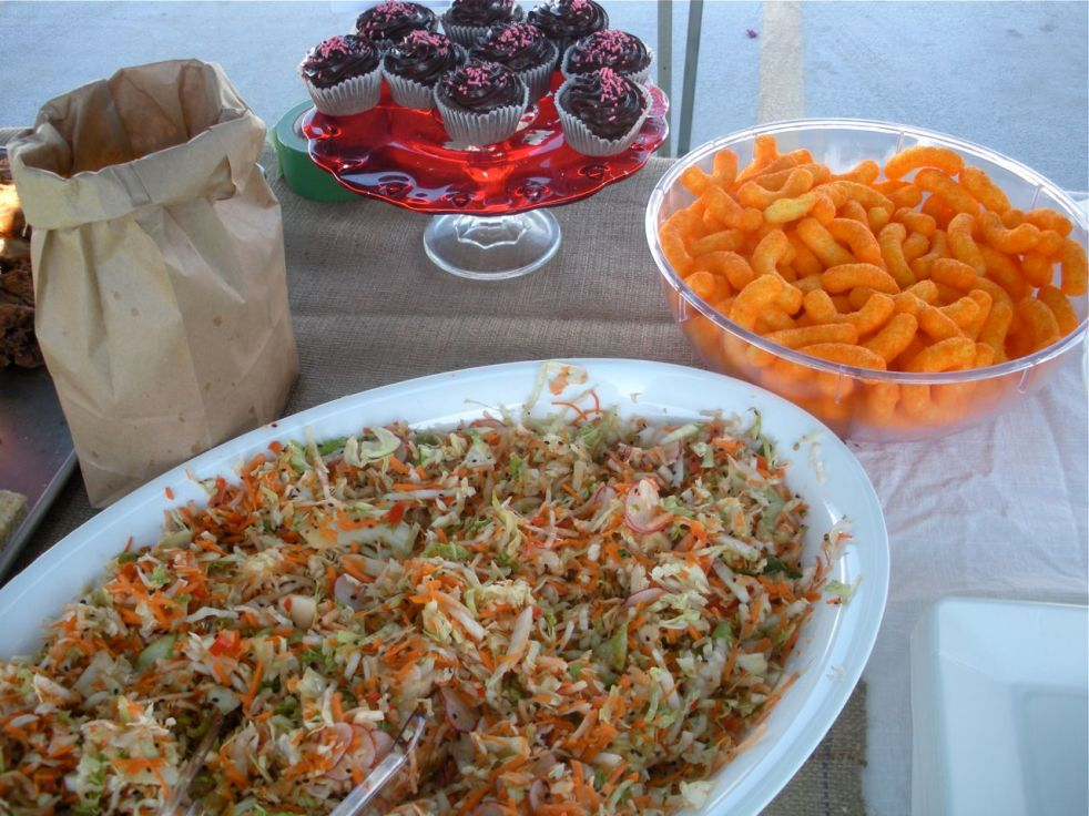 Spicy coleslaw, chocolate cupcakes and Cheetos!  Love Cheetos.  Also love coleslaw and cupcakes.