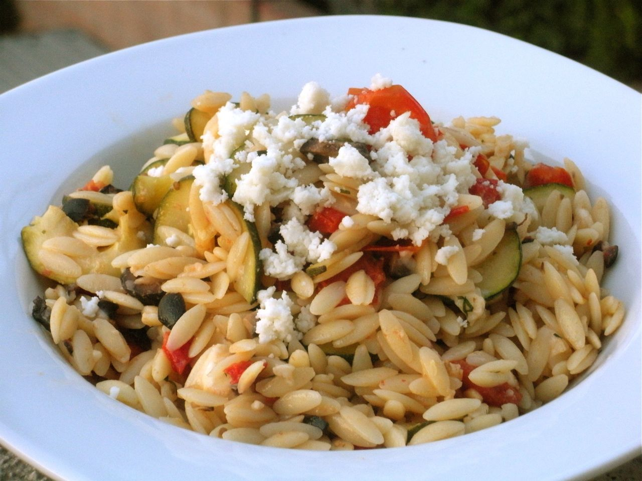 Orzo with Zucchini, Tomatoes and Queso Fresco-Duo Dishes