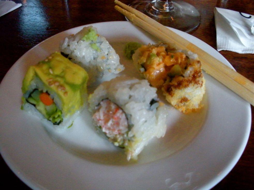 Vegetarian Caterpillar Roll, Spicy Tuna, California Roll and Crunchy Spicy Shrimp Roll