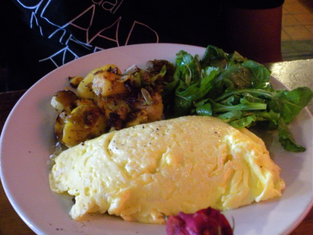 Omelet with caramelized onions and mushrooms.