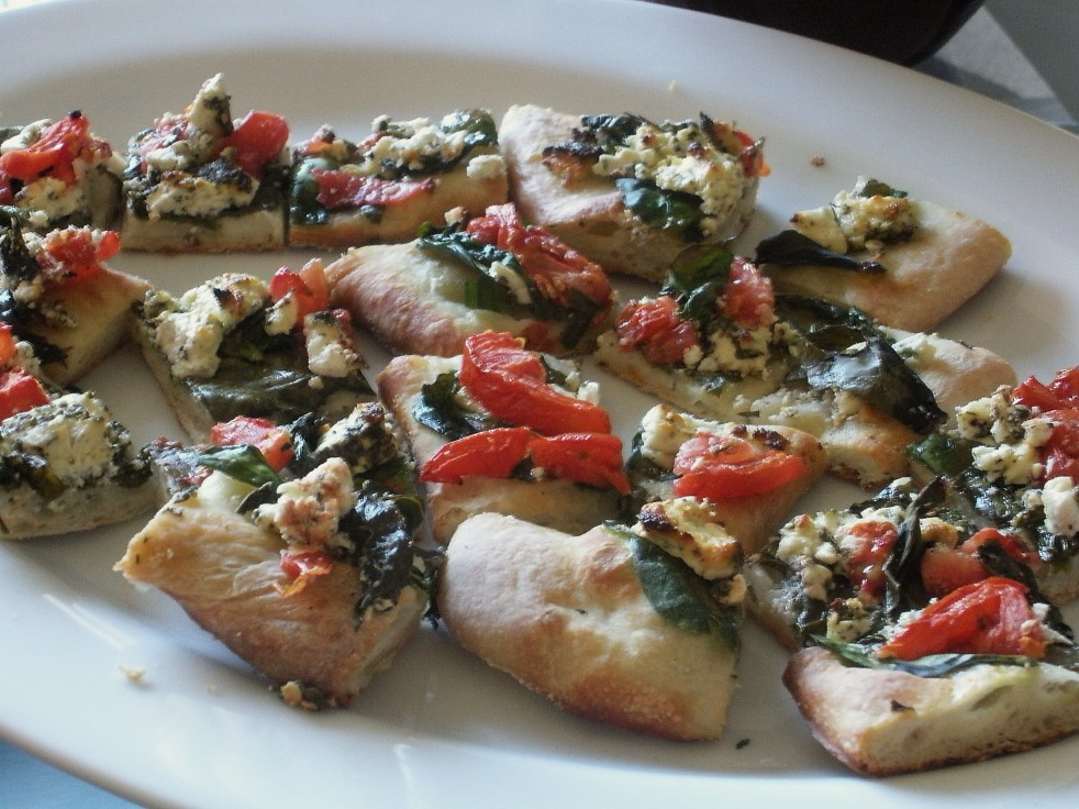 Spinach Tomato Goat Cheese pizza-Duo Dishes