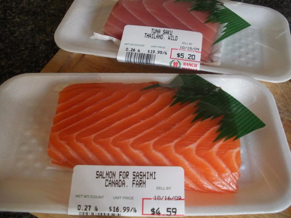 Fresh tuna and salmon-Duo Dishes