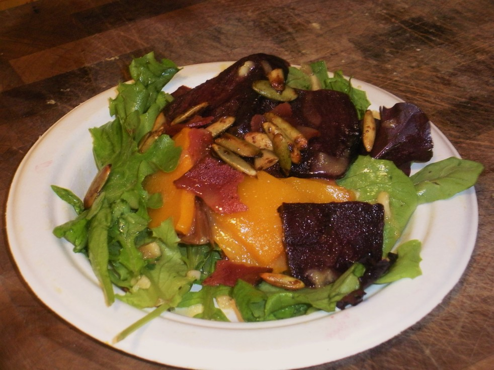 Arugula candied pepita bacon and squash salad-Duo Dishes