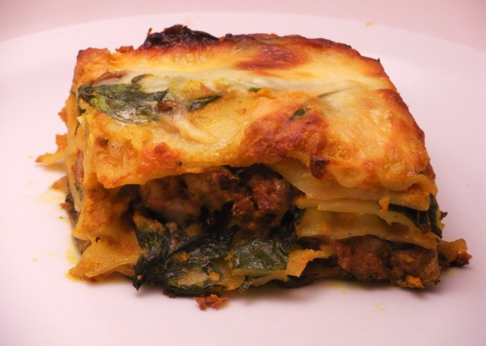 Pumpkin and sausage lasagna-Duo Dishes