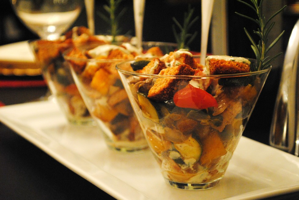 Mini Roasted Veg Panzanella Trifles