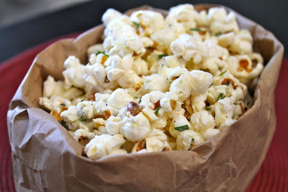 Asiago Popcorn in bag Duo Dishes